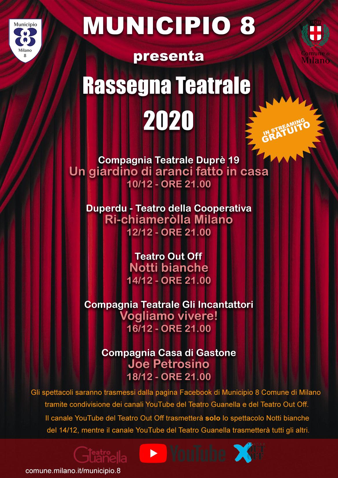 RASSEGNA TEATRALE ONLINE 2020 – MUNICIPIO 8